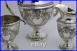 Hand Chased Repousse Sterling Silver Tea Set by Elmore Silver