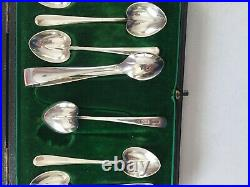 Hardy Brothers Set 6 Sterling Silver Tea Spoons And Tongs Boxed