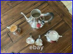 Heavy Ca. 1959 Tiffany & Co Rose 5-pc Excellent Quality Sterling Silver Tea Set