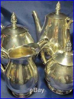 INTERNATIONAL STERLING ROYAL DANISH TEA COFFEE 5 PIECE SILVER SET. EXCELLENT 75oz