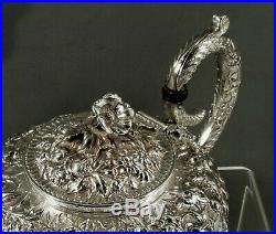 Kirk Sterling Silver Tea Set c1905 Hand Decorated