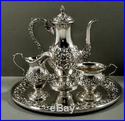 Kirk Sterling Tea Set & Tray c1940 Hand Decorated