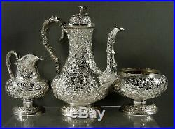 Kirk Sterling Tea Set c1905 Hand Decorated No Mono