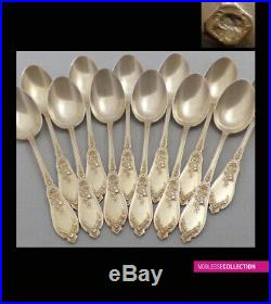 LAPPARRA ANTIQUE 1900s FRENCH STERLING SILVER/VERMEIL COFFEE/TEA SPOONS SET 12pc