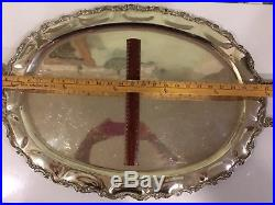 Large Sterling Silver Antique Platter Or Tray For A Tea/Coffee Set- Mexico