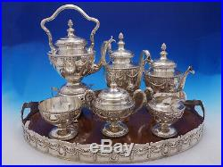 Louis XVI by Shreve Sterling Silver Tea Set with Tray & Kettle on Stand (#4576)