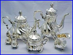Lovely German Sterling Silver Matching 6 Piece Coffee & Tea Service Set