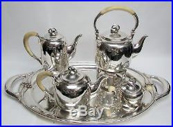 MID CENTURY STERLING SILVER DENMARK COFFEE & TEA SET With WATER KETTLE & TRAY