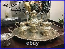 MUST GO! 5 piece Ornate Old Stieff Rose Sterling Silver Tea Set with tray