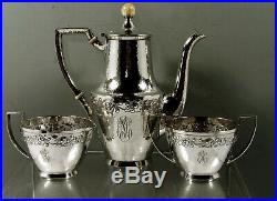 Marshall Fields Sterling Tea Set c1915 Hand Wrought Colonial