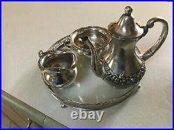 Mauser monogrammed sterling silver tea set and tray with historical significance