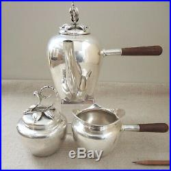 Mexican Modernist Sterling Silver Wood Handle Tea Set Coffee Pot Orchid Top IMSA