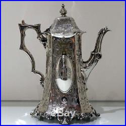 Mid 19th Century Antique Victorian Sterling Silver Four Piece Tea & Coffee Set
