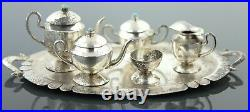 Miniature Sterling Silver and Turquoise Tea Set 42.53 Grams