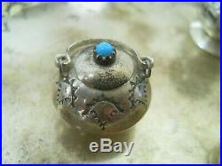 Native American Miniature Turquoise Sterling Silver Cookware Coffee Tea Set EMW