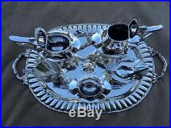 Near Museum Quality 7 Pc Complete 1909 Gorham Plymouth Sterling Coffee / Tea Set
