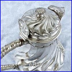 ODIOT Antique French Sterling Silver Vermeil Tea & Coffee Set 4pc