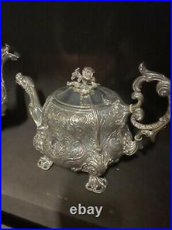 Odiot 19th c French 950 Sterling silver Tea Set Kettle Coffee sugar bowl Cream