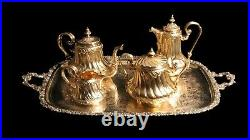 Odiot Gold Plated 950 Sterling Silver (vermeil) Tea Set + Tray, 1850-1899