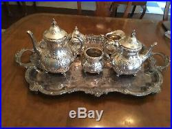 Old English Sterling Silver Hand Chased 5 Piece Tea Set & Tray