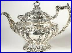 Old Gorham 5pc Sterling Silver Hand Chased CHANTILLY GRAND Tea & Coffee Set