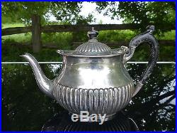 Old martin hall & co sterling silver 3 pc tea set ribbed neoclassical decoration