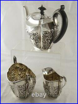 PRETTY ANTIQUE VICTORIAN SOLID STERLING SILVER TEA SET 1896 466 g