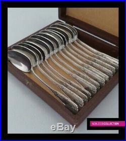 PUIFORCAT ANTIQUE 1880s FRENCH STERLING SILVER TEA/COFFEE SPOONS SET 12pc 297g