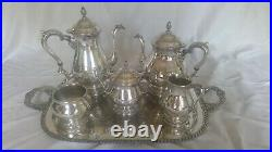 Prelude International 5 piece sterling silver coffee / tea set with tray