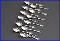 Puiforcat French sterling silver Set of 12 Coffee Tea Dessert spoons Roses