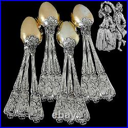 Puiforcat Masterpiece French Sterling Silver 18k Gold Tea Spoons Set 12 Pc, Box