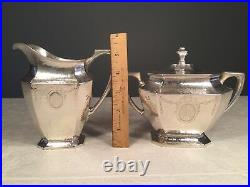 R Wallace & Sons Sterling Silver (745g) RM & S Tea Set Sugar Bowl Cream Pitcher