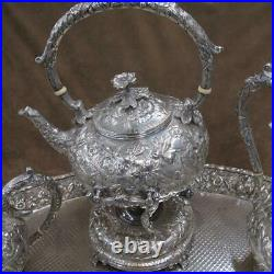 RARE 8 Pc Kirk & Son Repousse Sterling Silver Coffee Tea Service Set withTray J853