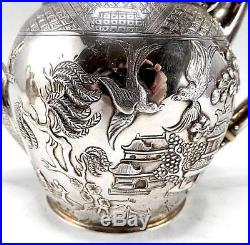 RARE CHINESE WILLOW PATTERN STERLING SILVER TEA SET T. SMILY for ELKINGTON 1868