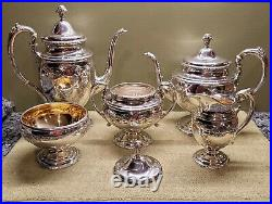 RARE Vintage TOWLE STERLING Silver 5-Piece Coffee Tea Set Old Master 76530 MINT