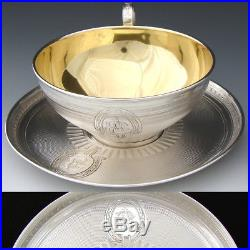 Rare PAIR Antique French Sterling Silver Chocolate or Tea Cup & 6.5 Saucer Set
