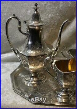 Reed & Barton Solid Sterling Silver 4 Pc Coffee/Tea Set withCreamer & Sugar withTray