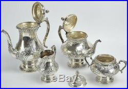 Reed & Barton Sterling Silver Tea & Coffee Set Hand Chased 110 Ounces