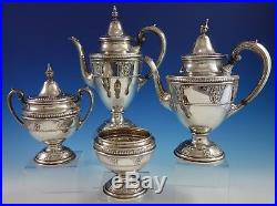 Rose Point by Wallace Sterling Silver Tea Set 4pc #4615-9 (#2785)