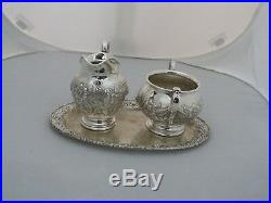 S. Kirk&sons Hand Decorated Repousse Sterling Silver 3pc Tea Set