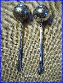 SET OF 2 GORHAM CHANTILLY STERLING TEA INFUSER SPOON BALL FORM No Monos MINTY