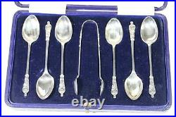 SET OF SIX STERLING SILVER TEA SPOONS AND SUGAR TONGS Sheffield 1910 APOSTLE AA