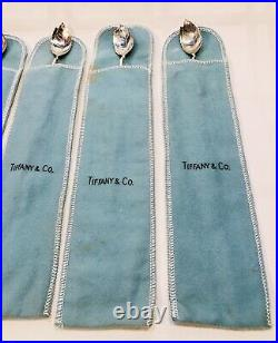 SET of 6 Tiffany & Co Sterling Leaf Mint Julep Iced Tea Spoons Sippers Straws