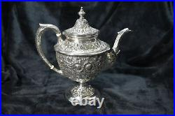 STERLING Silver MANCHESTER Tea Set SOUTHERN ROSE Repousse Pattern 5pc with Tray
