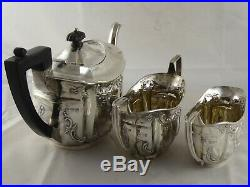 SUPERB ANTIQUE VICTORIAN SOLID STERLING SILVER TEA SET CHESTER 1899 467 g