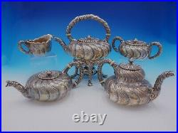 Saint Cloud by Gorham Sterling Silver Tea Set 5pc #1810 with Swirled Body (#3435)