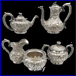 Schofield Sterling Silver Repousse 5-Piece Tea Coffee Set Commissioned by the Ci