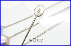 Set Of 4 LYH Chinese Apple Green Carved Jade Sterling Silver Iced Tea Spoon