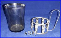 Set Of 6 Continental Sterling Silver & Smoked Glass Demitasse Tea Samovar Cups