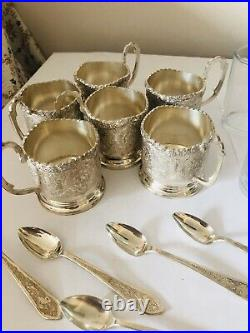 Set Of 6 Vtg Sterling Silver Russian Engraved Coffee Tea Cups Spoons Glass Cups